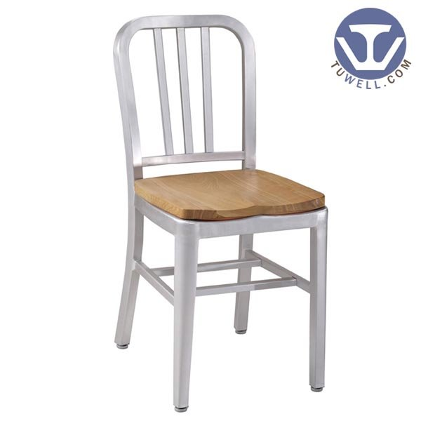 TW1005-W Aluminum Navy Chair with Wood Seat indoor and outdoor strong Aluminum dinning chair coffee chair party chair