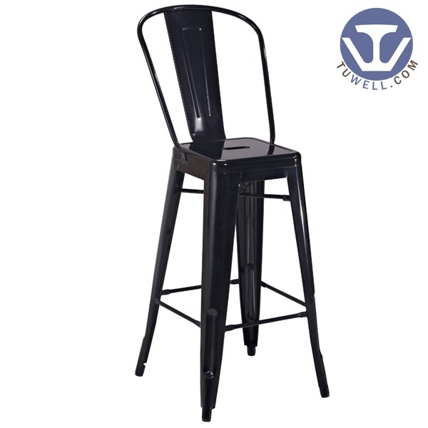 TW8004 Steel Tolix barchair, Dining barchair, restaurant chair, bistro barstool with backrest, steel barstool