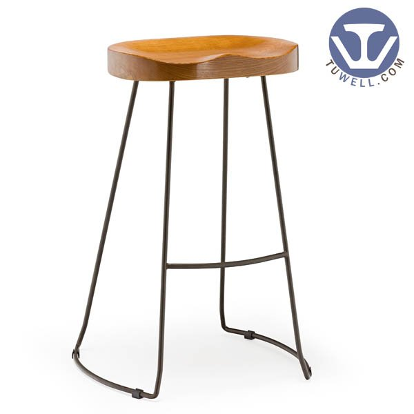 TW6101-L Steel bar stool metal dining bar stool with wooden seat Nordic style