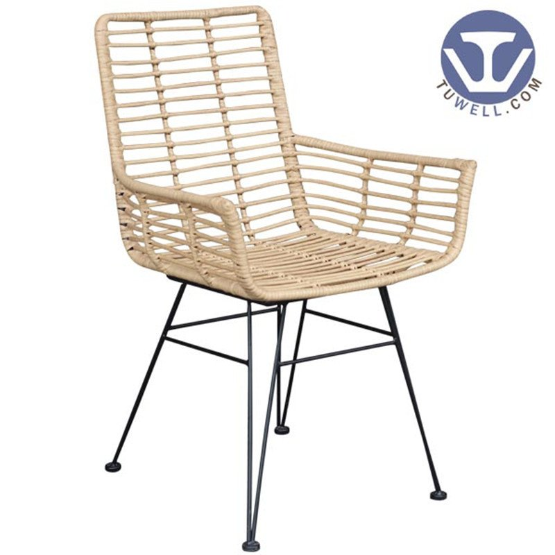 TW8710 Metal  PE rattan chair with natural color indoor and outdoor aluminum rattan funiture European leisure style