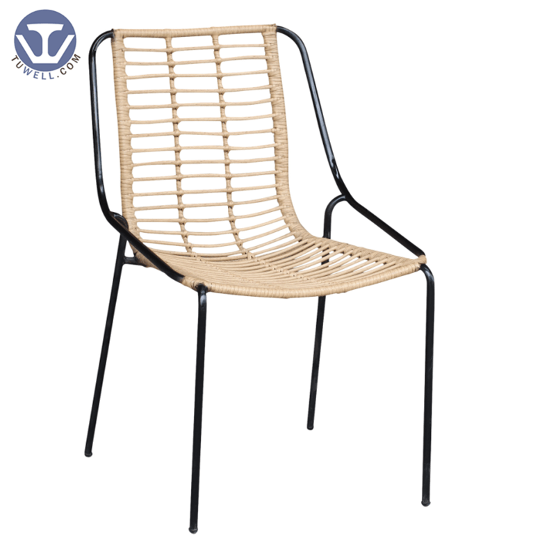 TW8709  Stackable Rattan chair with natural color indoor and outdoor aluminum rattan funiture European leisure style