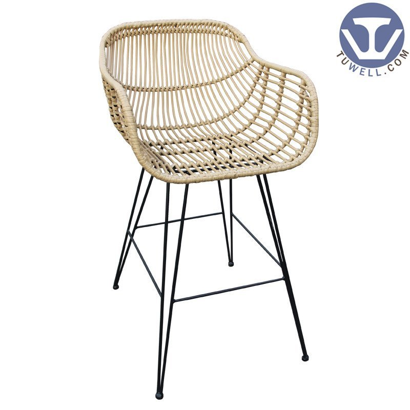 TW8711-L  Rattan bar chair indoor and outdoor PE rattan furniture European leisure style with natural color